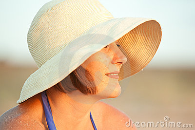 Woman with hat on