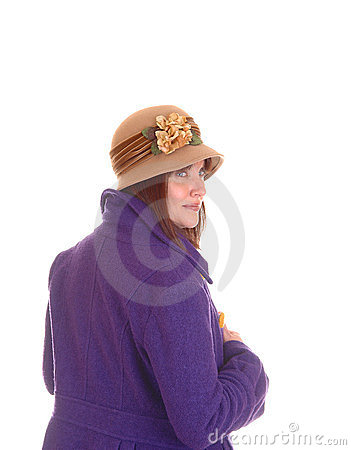Woman with hat and coat.