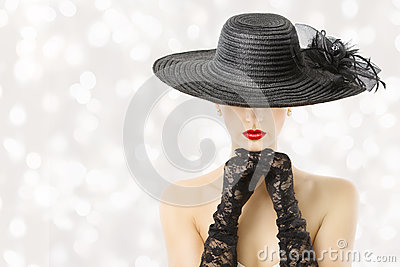 Woman In Hat and Gloves, Fashion Model Beauty Portrait, Girl Hidden Face, Red Lips Stock Photo