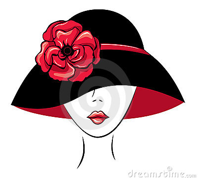 Woman in a Hat with Poppy Flower