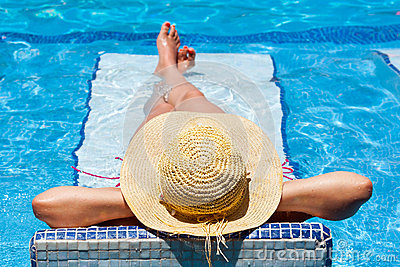 Woman in hat at relaxation on holidays