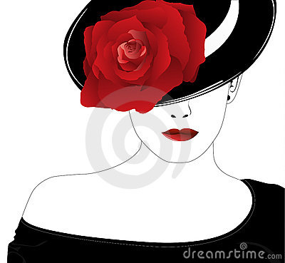 Woman in a hat with a rose royalty free stock photos - Tableau noir et rose ...
