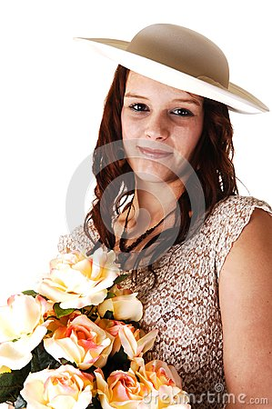 Woman with hat and roses.