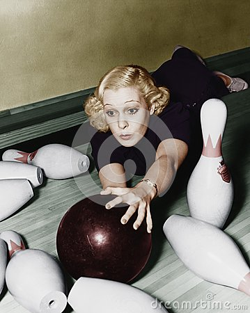 Free Woman Having Bowling Accident Royalty Free Stock Images - 52004469