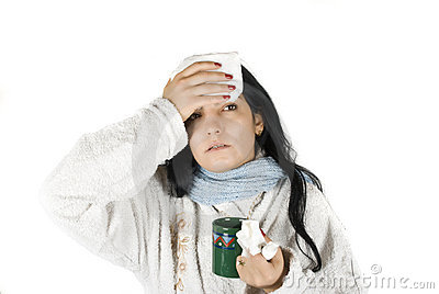 Woman having flu