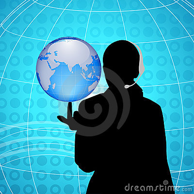 Woman having globe at finger tip