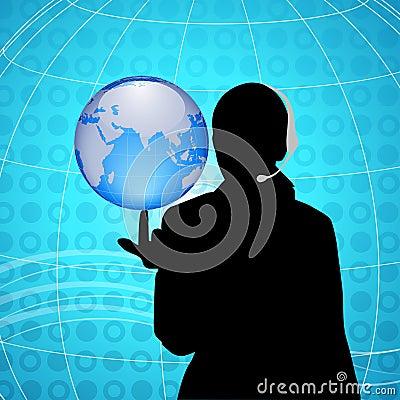 Woman having globe at finger tip