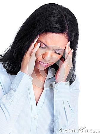Woman having a headache.
