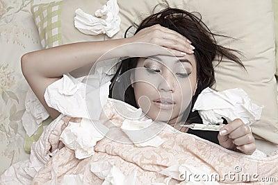 Woman having high fever