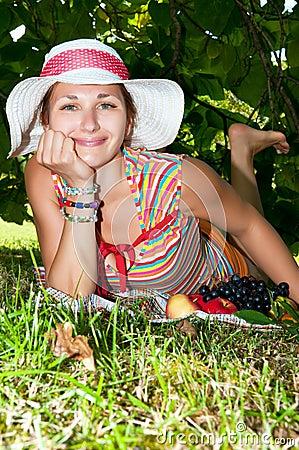 Woman having picnic