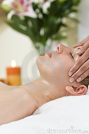 Woman Having Relaxing Head Massage At Health Spa