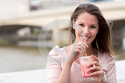 Woman having a smoothie