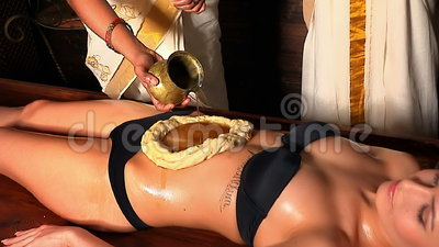 Woman Having Stomach Ayurveda Spa Treatment Massage Abdomen Using Pouring Oil In Form Of Dough Stock Footage Video Of Massage Herbal