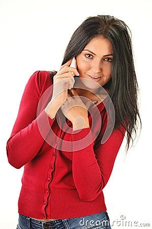 Woman having telephone conversation