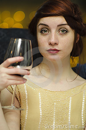 Woman having wine