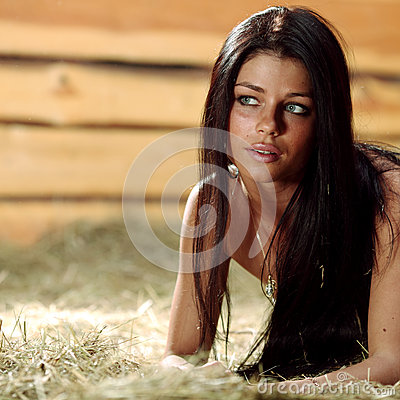 Woman on hay