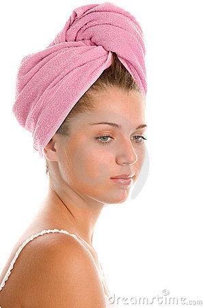 Woman with head wrapped towel