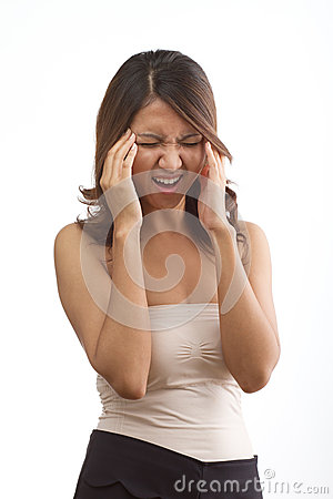 Woman with headache or migraine or stress