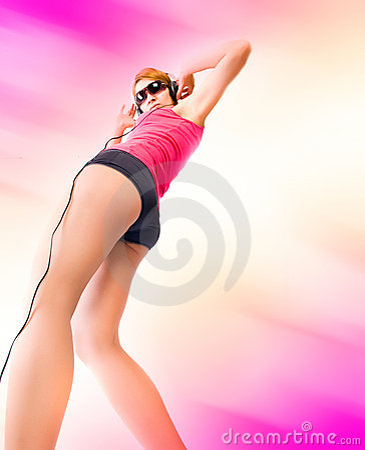 Woman in headphones