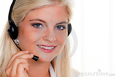 Woman with a headset and computer Hotline