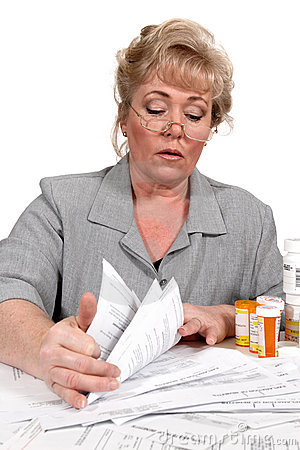 Woman with healthcare bills