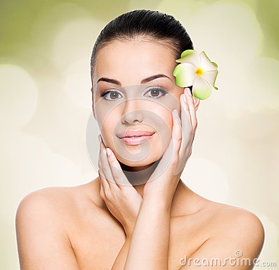 Woman with healthy skin face