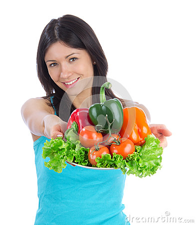 Woman with healthy vegetarian vegetables salad