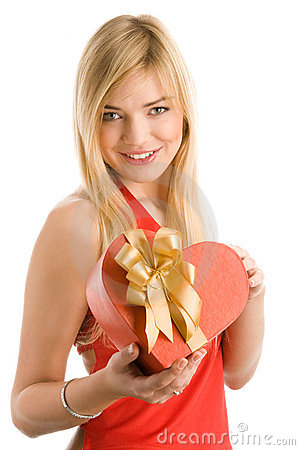 Woman with heart gift
