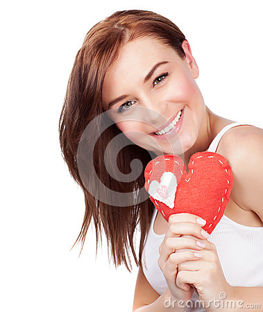 Woman with heart soft toy