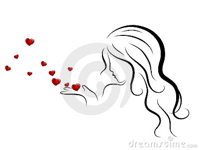 Woman and hearts