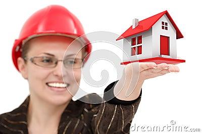 Woman in a helmet