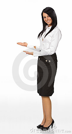 Woman with her arm out in a welcoming gesture