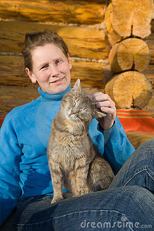 Woman with her cat
