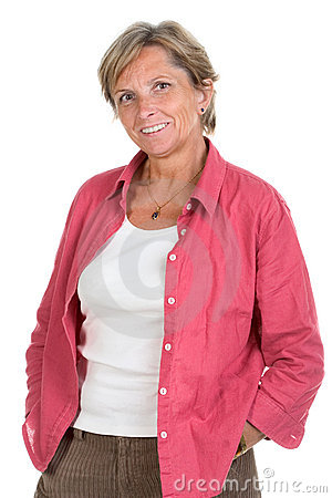 Woman in her fifties smiles