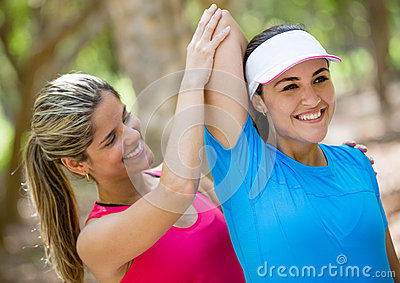 Woman with her fitness trainer