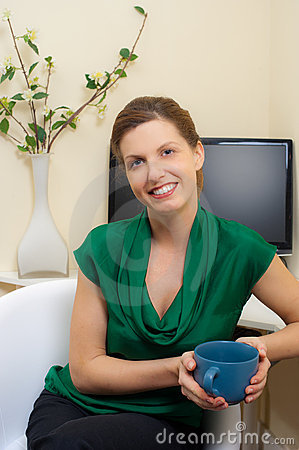 Woman in her home office