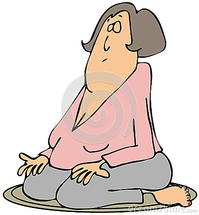 Woman on her knees meditating