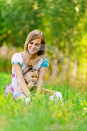 Woman and her little daughter