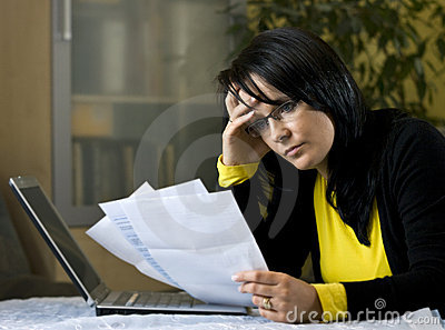 Woman and her monthly bills