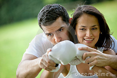 Woman and her sports trainer