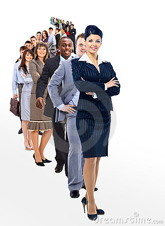 woman and her team isolated over a white background