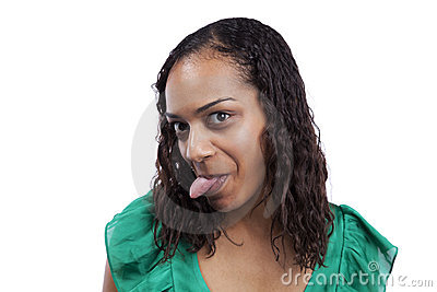 Woman with her tounge out