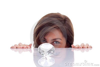 Woman hidding behind the diamond