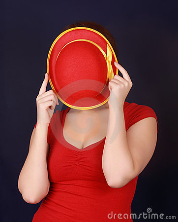 Free Woman Hiding Behind Hat Stock Images - 7874284