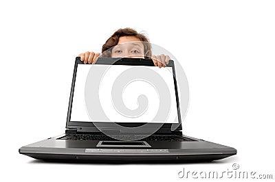 Woman Hiding Behind a Laptop