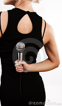 Woman hiding microphone