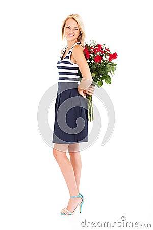 Woman hiding roses