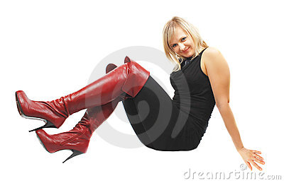 Woman in high red boots.