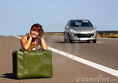 Woman on highway