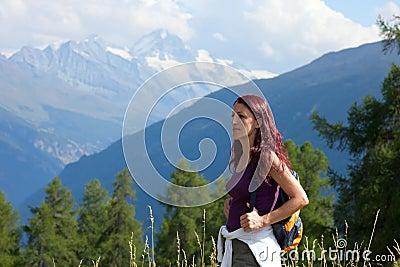 Woman Hiker In Alps.
